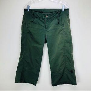 Prana Breathe Cargo Capri Pants in Green Khaki 10
